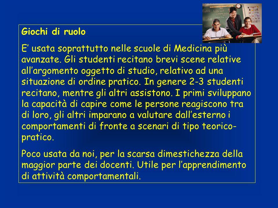 Giochi di ruolo E usata soprattutto nelle scuole di Medicina più avanzate.
