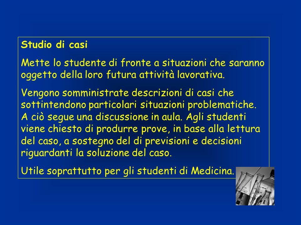 Studio di casi Mette lo studente di fronte a situazioni che saranno oggetto della loro futura attività lavorativa. Vengono somministrate descrizioni d