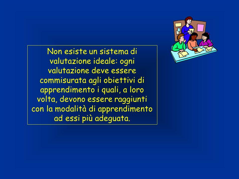 Non esiste un sistema di valutazione ideale: ogni valutazione deve essere commisurata agli obiettivi di apprendimento i quali, a loro volta, devono es