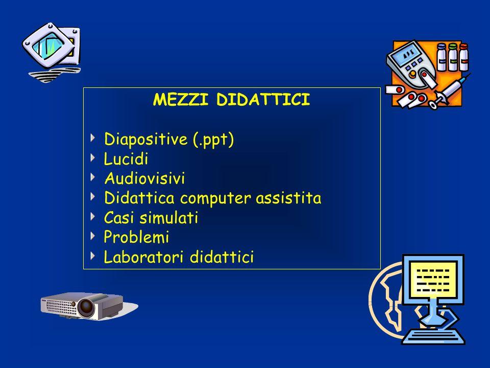 MEZZI DIDATTICI Diapositive (.ppt) Lucidi Audiovisivi Didattica computer assistita Casi simulati Problemi Laboratori didattici