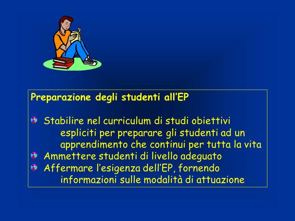 Preparazione degli studenti allEP Stabilire nel curriculum di studi obiettivi espliciti per preparare gli studenti ad un apprendimento che continui pe