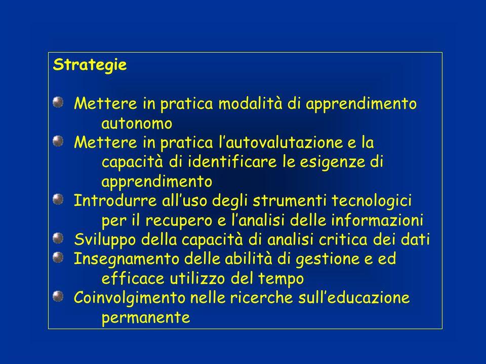Strategie Mettere in pratica modalità di apprendimento autonomo Mettere in pratica lautovalutazione e la capacità di identificare le esigenze di appre