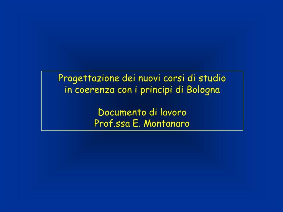 Progettazione dei nuovi corsi di studio in coerenza con i principi di Bologna Documento di lavoro Prof.ssa E. Montanaro