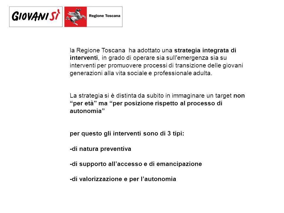 la Regione Toscana ha adottato una strategia integrata di interventi, in grado di operare sia sull emergenza sia su interventi per promuovere processi di transizione delle giovani generazioni alla vita sociale e professionale adulta.