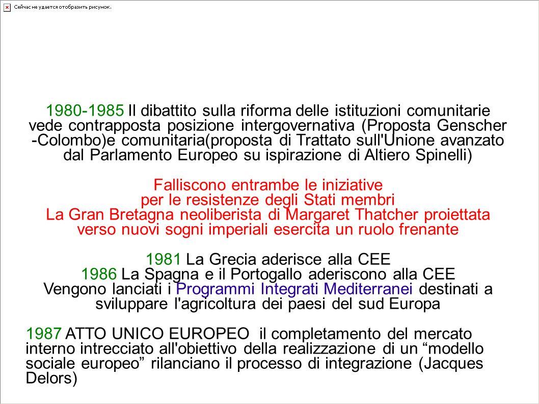 Gli anni Ottanta: l' allargamento della CEE a Sud rilancia il problema politico-istituzionale: ma sarà il mercato unico a rimettere in moto l'Europa 1