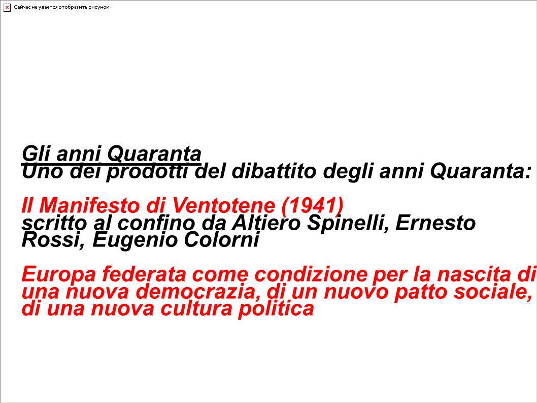 Le idee d'Europa unita Gli anni Quaranta Uno dei prodotti del dibattito degli anni Quaranta: Il Manifesto di Ventotene (1941) scritto al confino da Al