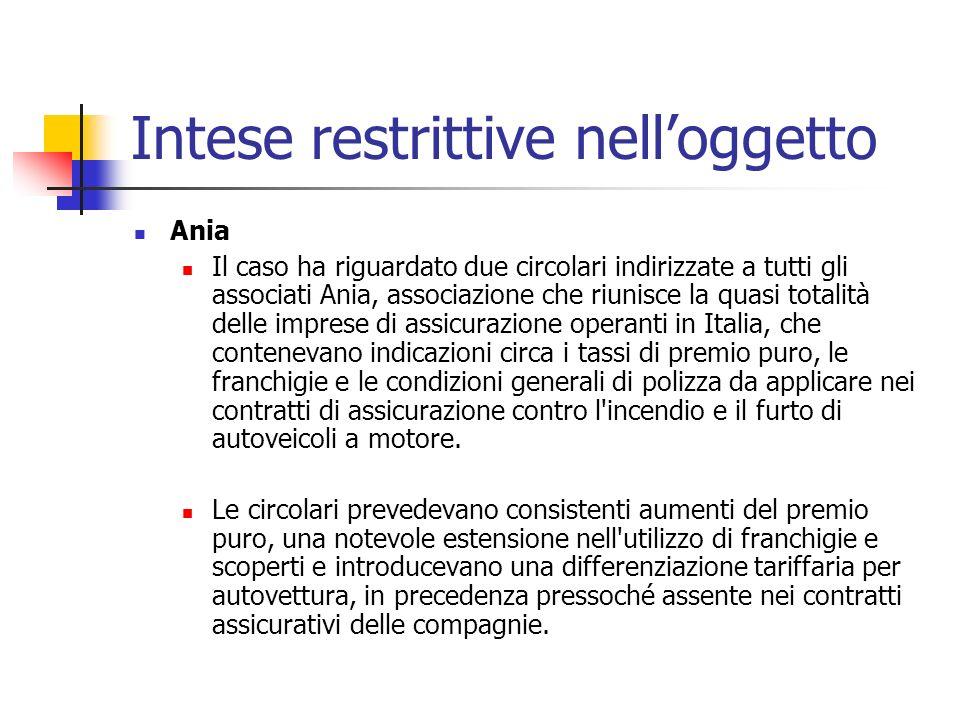 Intese restrittive nelloggetto Ania Il caso ha riguardato due circolari indirizzate a tutti gli associati Ania, associazione che riunisce la quasi tot