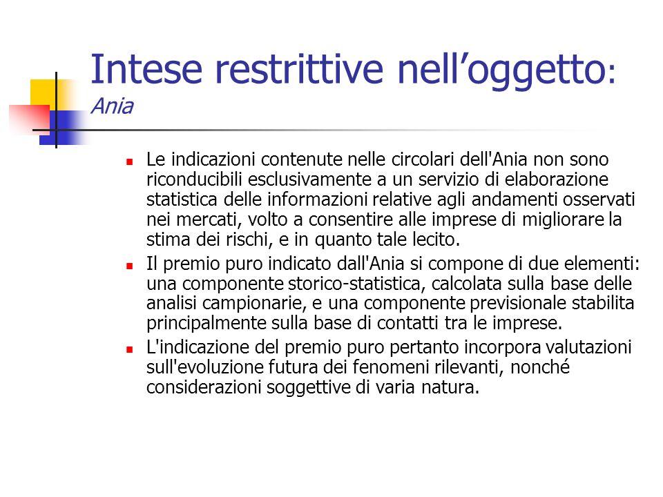 Intese restrittive nelloggetto : Ania Le indicazioni contenute nelle circolari dell'Ania non sono riconducibili esclusivamente a un servizio di elabor