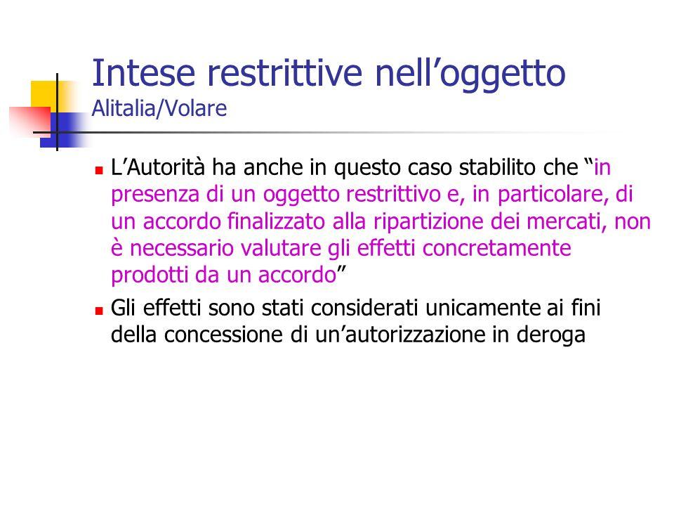 Intese restrittive nelloggetto Alitalia/Volare LAutorità ha anche in questo caso stabilito che in presenza di un oggetto restrittivo e, in particolare