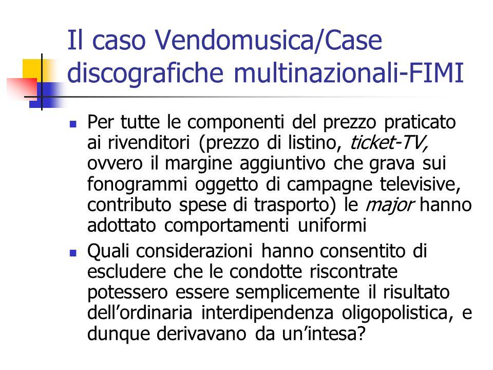 Il caso Vendomusica/Case discografiche multinazionali-FIMI Per tutte le componenti del prezzo praticato ai rivenditori (prezzo di listino, ticket-TV,