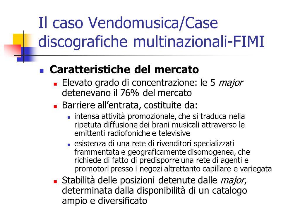 Il caso Vendomusica/Case discografiche multinazionali-FIMI Caratteristiche del mercato Elevato grado di concentrazione: le 5 major detenevano il 76% d