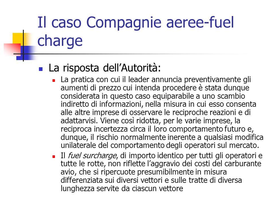 Il caso Compagnie aeree-fuel charge La risposta dellAutorità: La pratica con cui il leader annuncia preventivamente gli aumenti di prezzo cui intenda