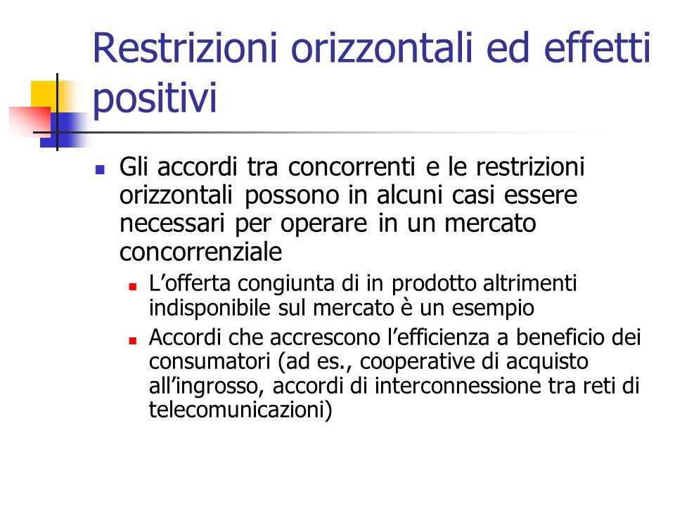 Restrizioni orizzontali ed effetti positivi Gli accordi tra concorrenti e le restrizioni orizzontali possono in alcuni casi essere necessari per opera