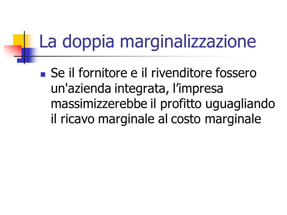 La doppia marginalizzazione Se il fornitore e il rivenditore fossero un'azienda integrata, limpresa massimizzerebbe il profitto uguagliando il ricavo