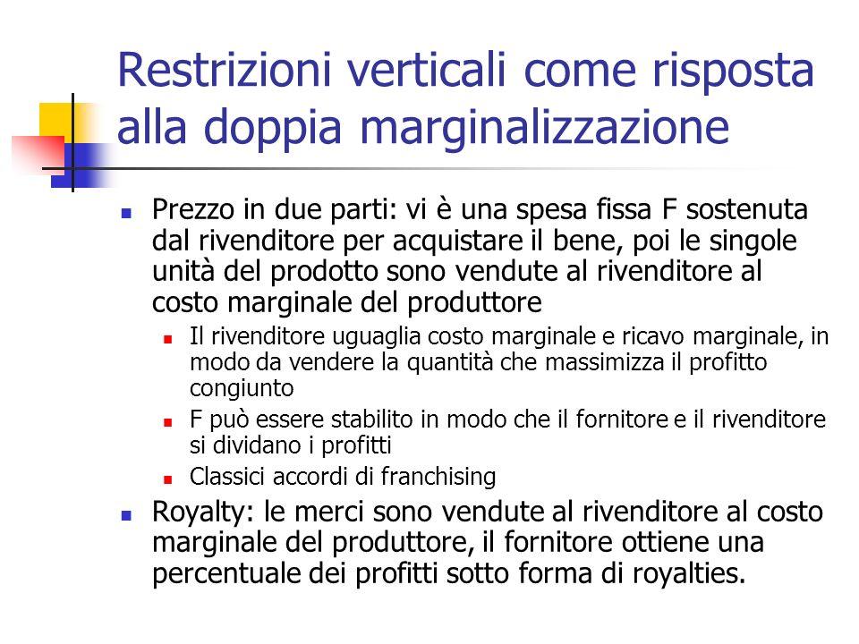 Restrizioni verticali come risposta alla doppia marginalizzazione Prezzo in due parti: vi è una spesa fissa F sostenuta dal rivenditore per acquistare