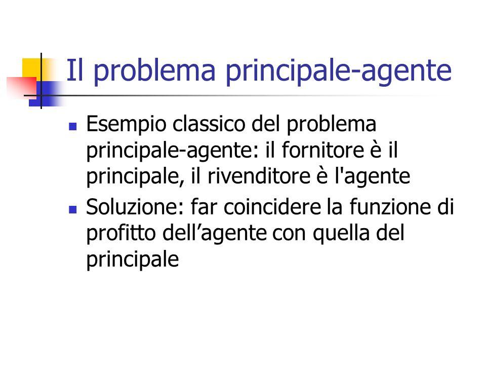 Il problema principale-agente Esempio classico del problema principale-agente: il fornitore è il principale, il rivenditore è l'agente Soluzione: far