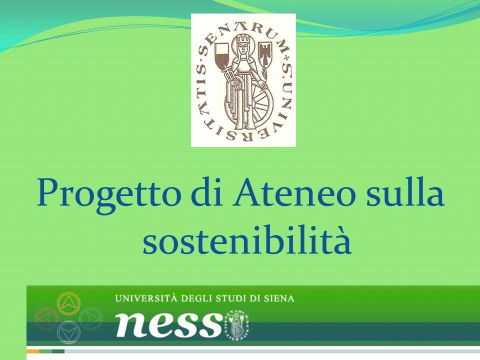 Progetto di Ateneo sulla sostenibilità: Premesse: A) LUniversità di Siena, un centro di eccellenza sulla sostenibilità: il network B) LUniversità di Siena al servizio del territorio C) La sostenibilità, una prospettiva per il futuro (in termini di didattica, ricerca, applicazioni) 2