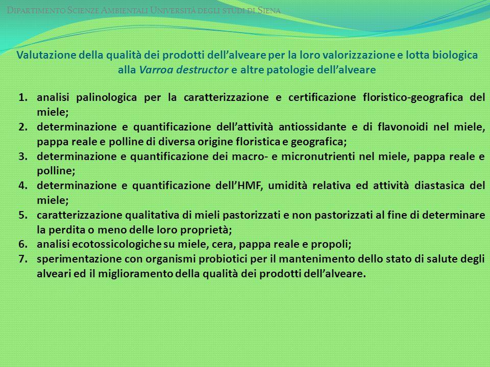 D IPARTIMENTO S CIENZE A MBIENTALI U NIVERSITÀ DEGLI STUDI DI S IENA Valutazione della qualità dei prodotti dellalveare per la loro valorizzazione e l
