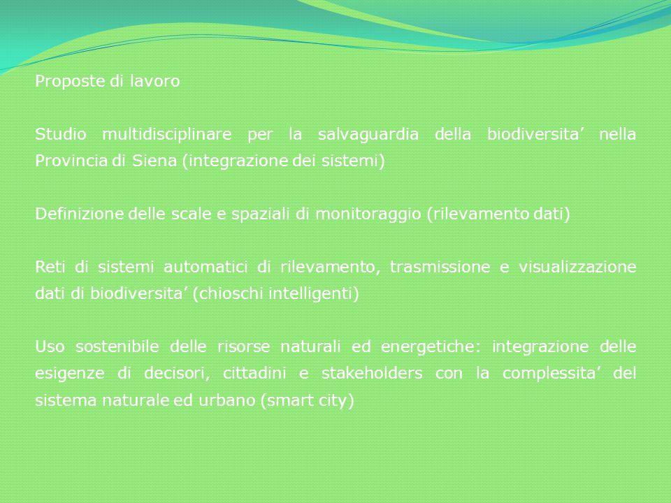 Proposte di lavoro Studio multidisciplinare per la salvaguardia della biodiversita nella Provincia di Siena (integrazione dei sistemi) Definizione del