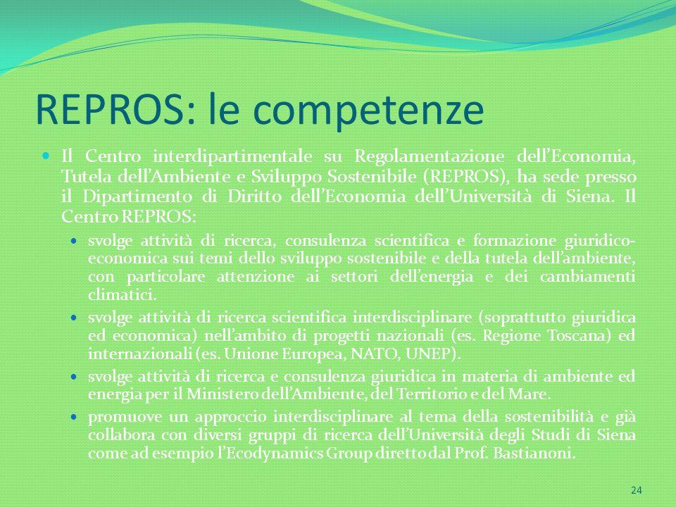REPROS: le competenze Il Centro interdipartimentale su Regolamentazione dellEconomia, Tutela dellAmbiente e Sviluppo Sostenibile (REPROS), ha sede pre