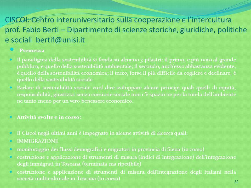 CISCOI: Centro interuniversitario sulla cooperazione e lintercultura prof. Fabio Berti – Dipartimento di scienze storiche, giuridiche, politiche e soc
