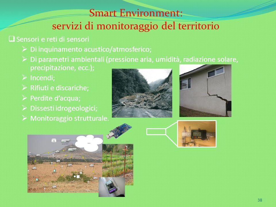 Sensori e reti di sensori Di inquinamento acustico/atmosferico; Di parametri ambientali (pressione aria, umidità, radiazione solare, precipitazione, e