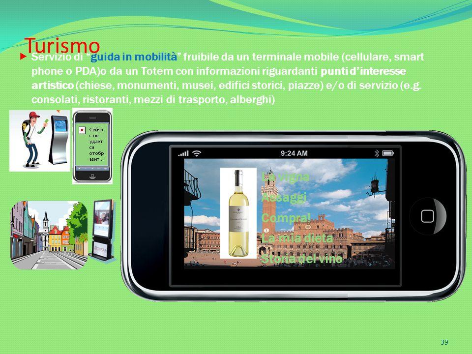 La vigna Assaggi Compra! La mia dieta Storia del vino Turismo 39 Servizio di guida in mobilità fruibile da un terminale mobile (cellulare, smart phone