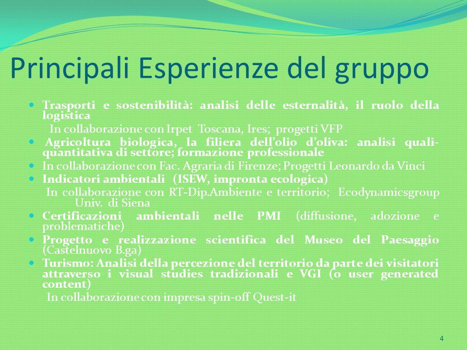 Principali Esperienze del gruppo Trasporti e sostenibilità: analisi delle esternalità, il ruolo della logistica In collaborazione con Irpet Toscana, I