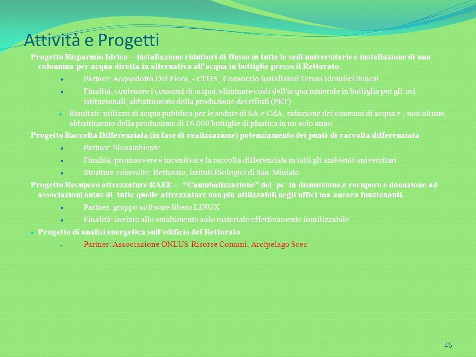 Attività e Progetti Progetto Risparmio Idrico - installazione riduttori di flusso in tutte le sedi universitarie e installazione di una colonnina per