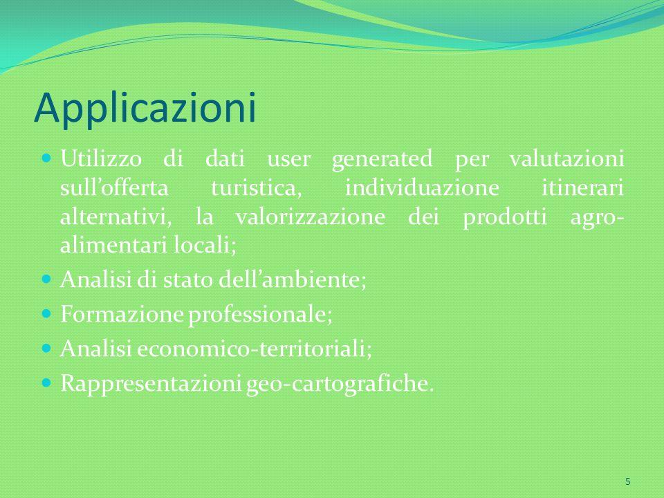 Applicazioni Utilizzo di dati user generated per valutazioni sullofferta turistica, individuazione itinerari alternativi, la valorizzazione dei prodot