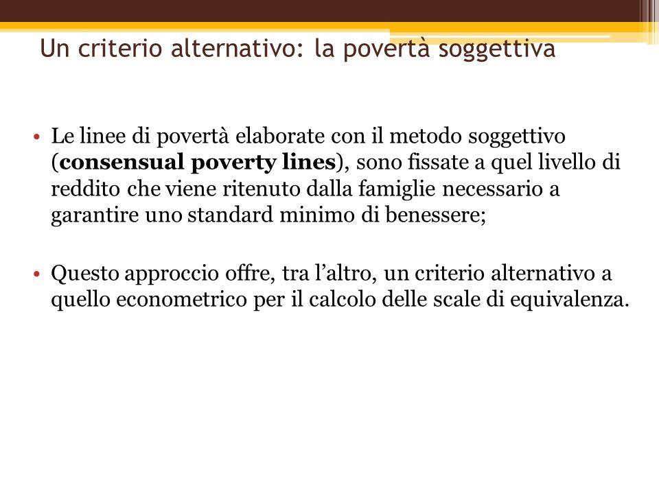 Un criterio alternativo: la povertà soggettiva Le linee di povertà elaborate con il metodo soggettivo (consensual poverty lines), sono fissate a quel