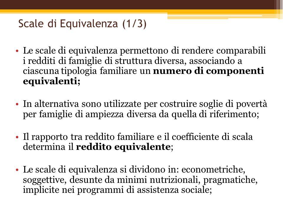 Scale di Equivalenza (1/3) Le scale di equivalenza permettono di rendere comparabili i redditi di famiglie di struttura diversa, associando a ciascuna