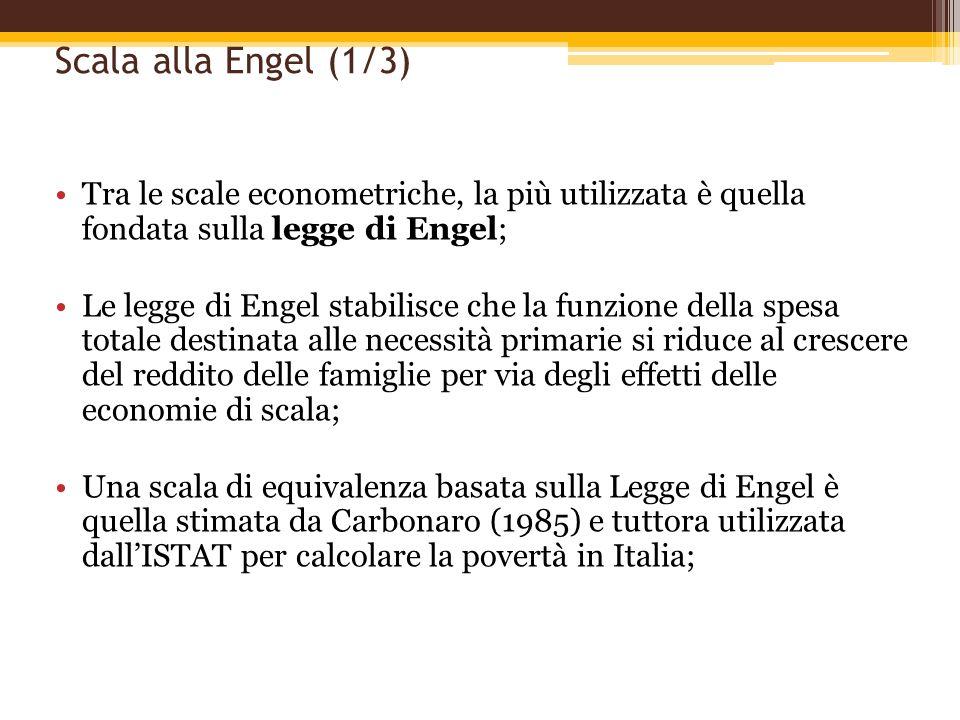 Scala alla Engel (1/3) Tra le scale econometriche, la più utilizzata è quella fondata sulla legge di Engel; Le legge di Engel stabilisce che la funzio