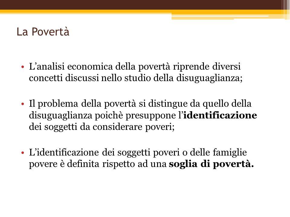 La Povertà Lanalisi economica della povertà riprende diversi concetti discussi nello studio della disuguaglianza; Il problema della povertà si disting