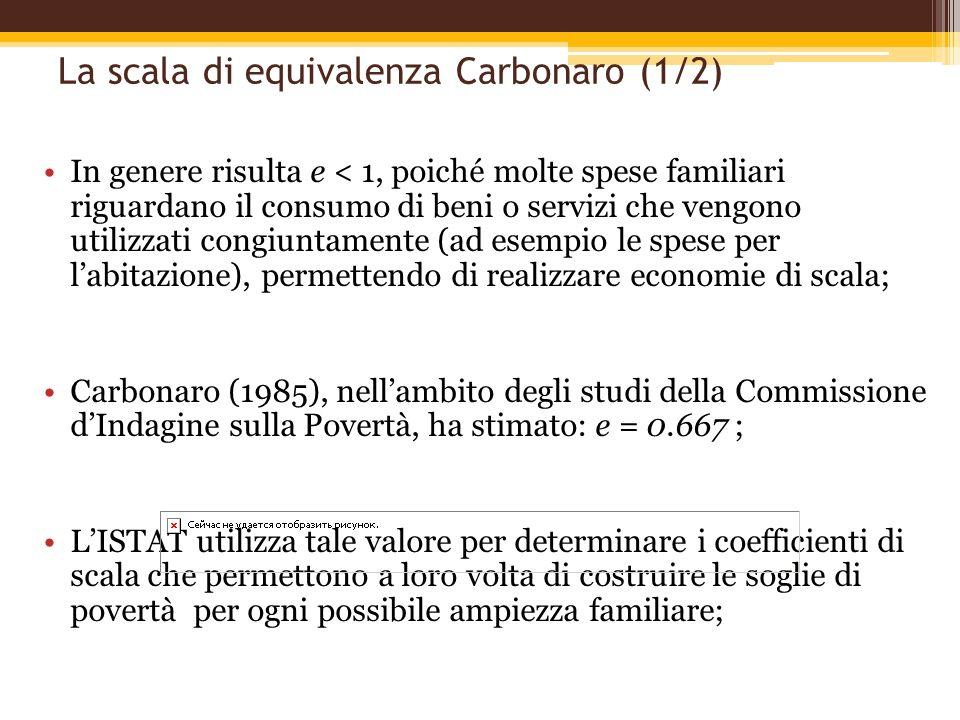 La scala di equivalenza Carbonaro (1/2) In genere risulta e < 1, poiché molte spese familiari riguardano il consumo di beni o servizi che vengono util