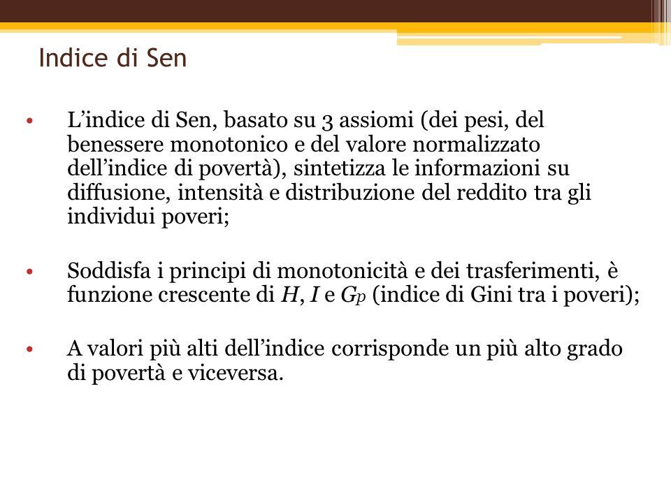 Indice di Sen Lindice di Sen, basato su 3 assiomi (dei pesi, del benessere monotonico e del valore normalizzato dellindice di povertà), sintetizza le