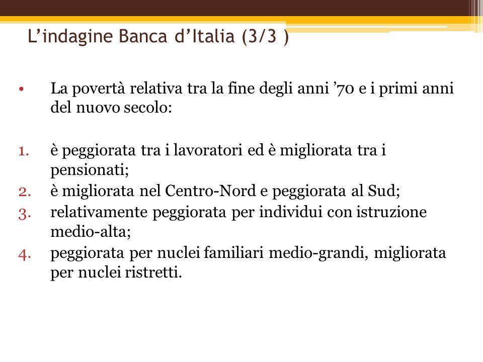 Lindagine Banca dItalia (3/3 ) La povertà relativa tra la fine degli anni 70 e i primi anni del nuovo secolo: 1.è peggiorata tra i lavoratori ed è mig