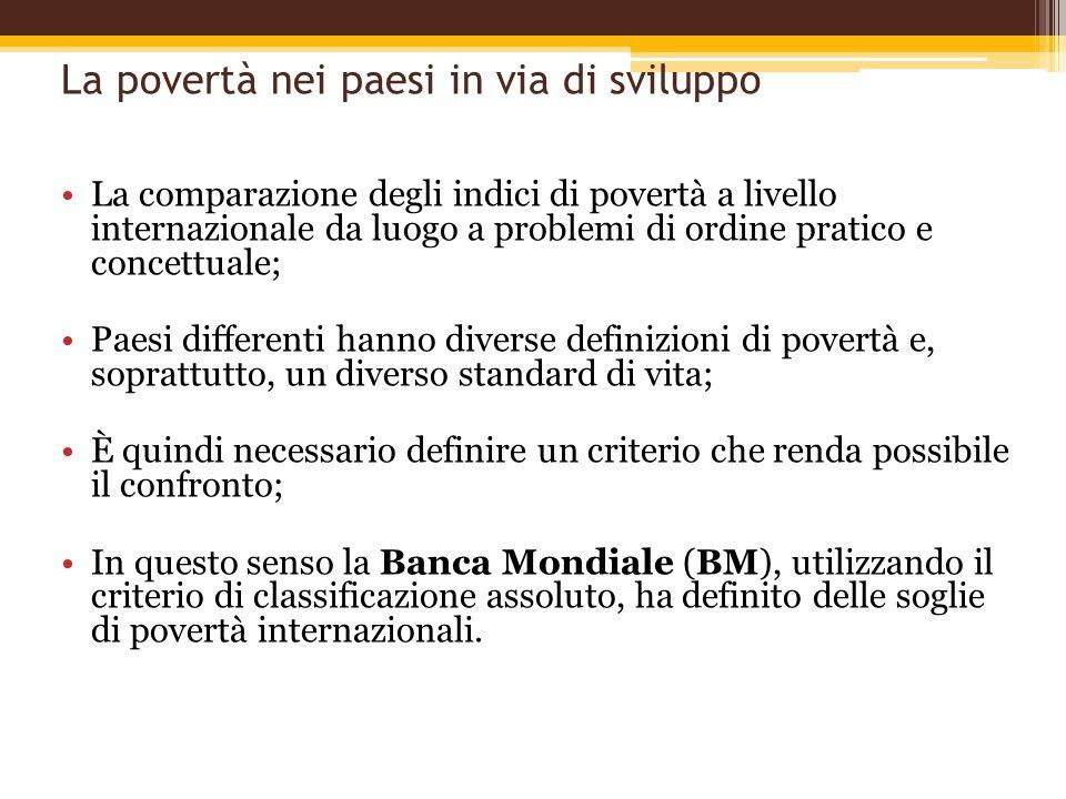 La povertà nei paesi in via di sviluppo La comparazione degli indici di povertà a livello internazionale da luogo a problemi di ordine pratico e conce