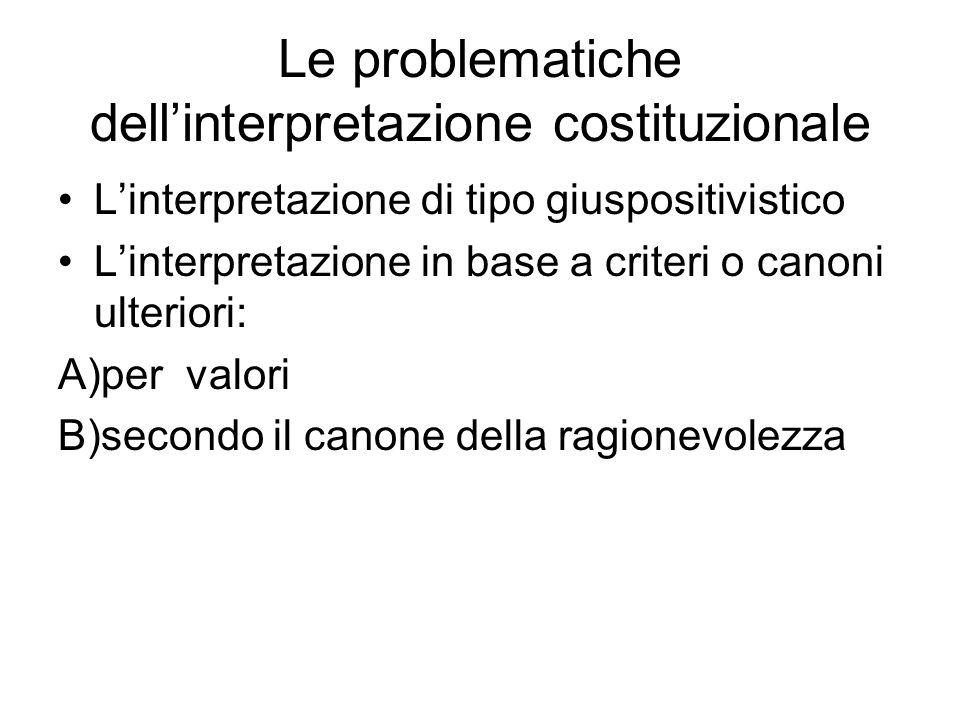 Le problematiche dellinterpretazione costituzionale Linterpretazione di tipo giuspositivistico Linterpretazione in base a criteri o canoni ulteriori: A)per valori B)secondo il canone della ragionevolezza