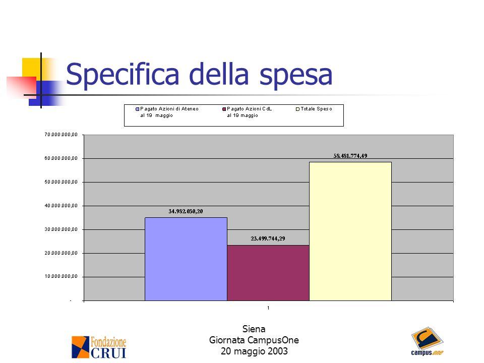 Siena Giornata CampusOne 20 maggio 2003 Specifica della spesa