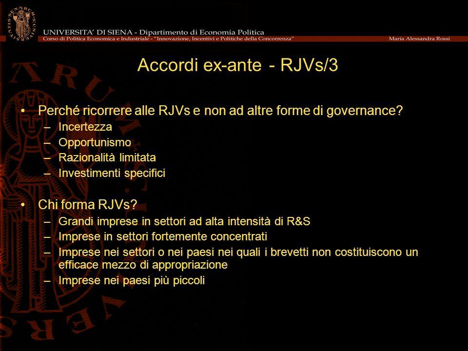 Accordi ex-ante - RJVs/3 Perché ricorrere alle RJVs e non ad altre forme di governance.