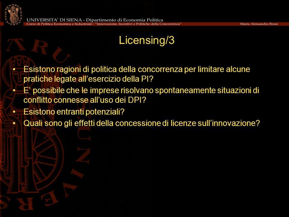 Licensing/3 Esistono ragioni di politica della concorrenza per limitare alcune pratiche legate allesercizio della PI.