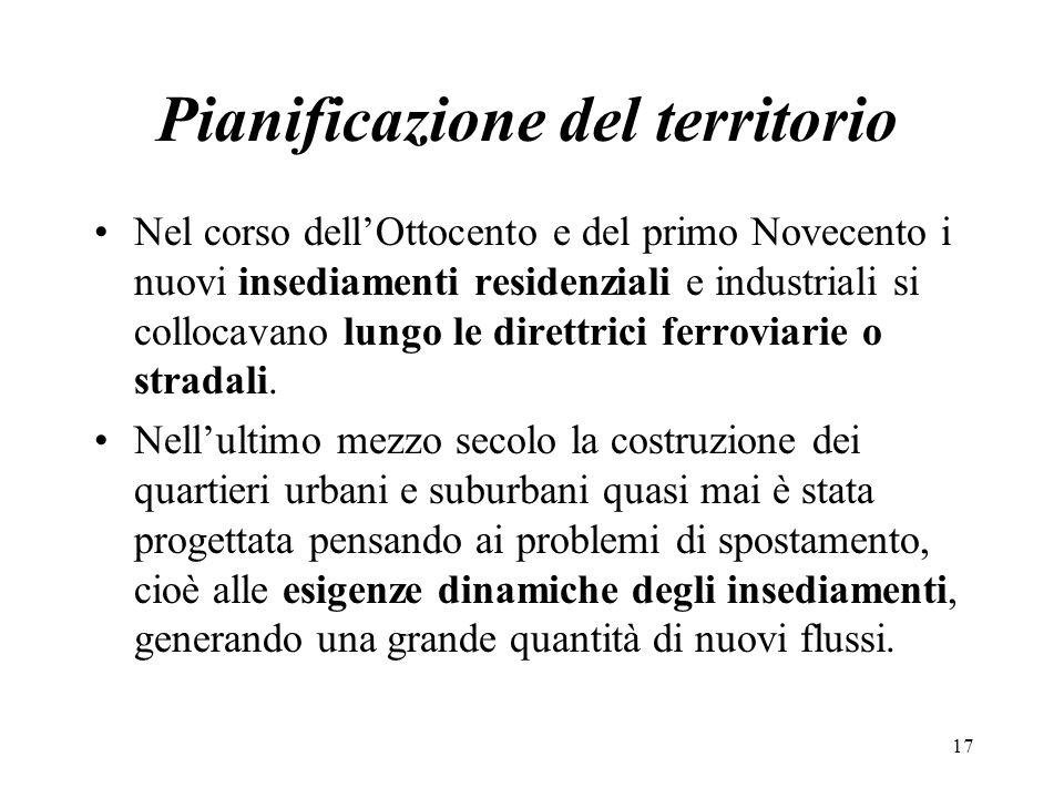 Pianificazione del territorio Nel corso dellOttocento e del primo Novecento i nuovi insediamenti residenziali e industriali si collocavano lungo le di