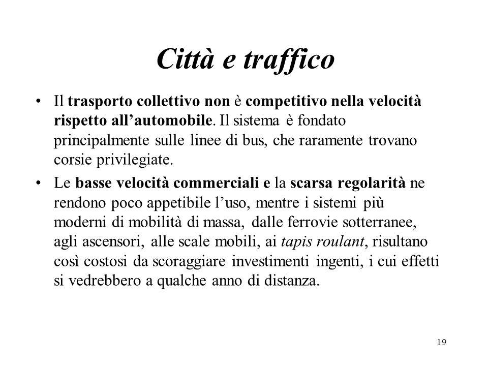 Città e traffico Il trasporto collettivo non è competitivo nella velocità rispetto allautomobile. Il sistema è fondato principalmente sulle linee di b