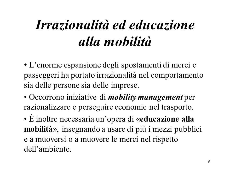 Irrazionalità ed educazione alla mobilità Lenorme espansione degli spostamenti di merci e passeggeri ha portato irrazionalità nel comportamento sia de