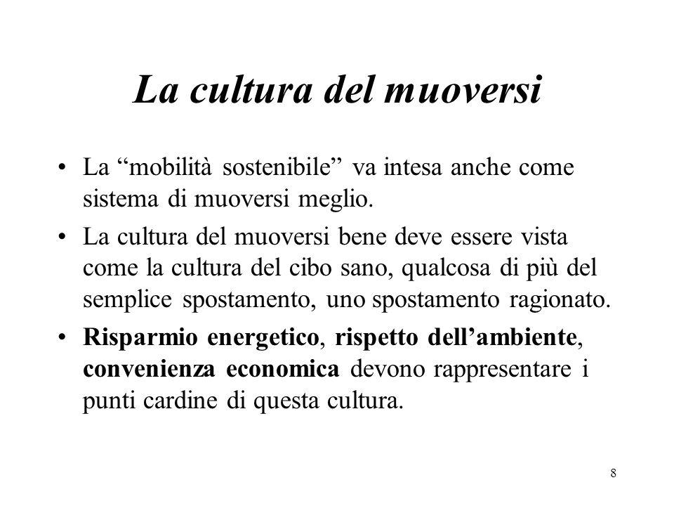 La cultura del muoversi La mobilità sostenibile va intesa anche come sistema di muoversi meglio. La cultura del muoversi bene deve essere vista come l