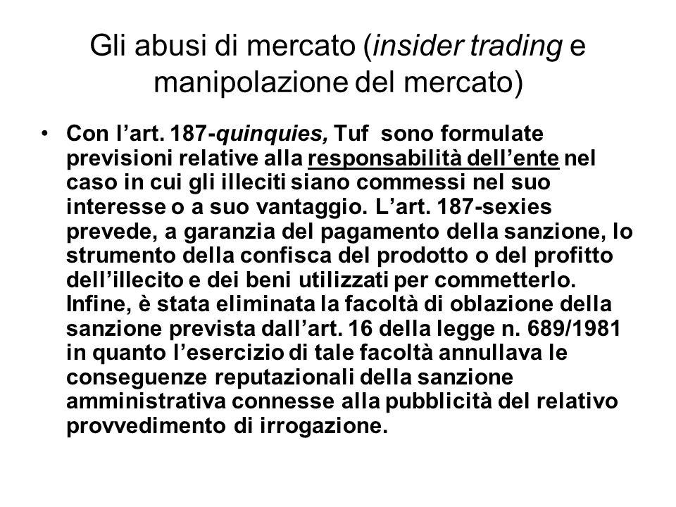 Gli abusi di mercato (insider trading e manipolazione del mercato) Con lart. 187-quinquies, Tuf sono formulate previsioni relative alla responsabilità