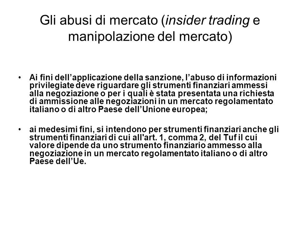 Gli abusi di mercato (insider trading e manipolazione del mercato) Ai fini dellapplicazione della sanzione, labuso di informazioni privilegiate deve r