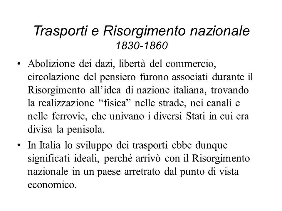 Trasporti e Risorgimento nazionale 1830-1860 Abolizione dei dazi, libertà del commercio, circolazione del pensiero furono associati durante il Risorgi