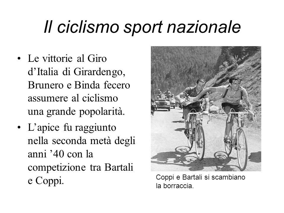 Il ciclismo sport nazionale Le vittorie al Giro dItalia di Girardengo, Brunero e Binda fecero assumere al ciclismo una grande popolarità. Lapice fu ra